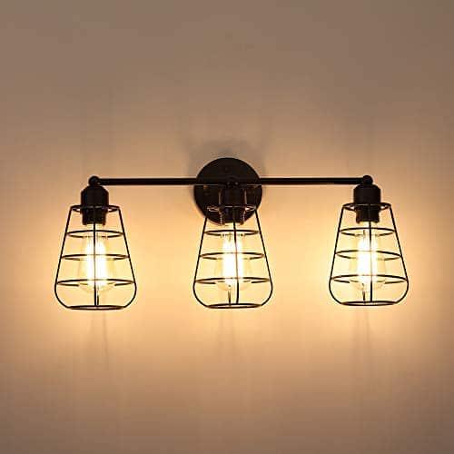 Create For Life 3 Light Industrial Vanity Lights Black Cage Wall Sconces Vintage Rustic Bathroom Wall Lighting 0 2