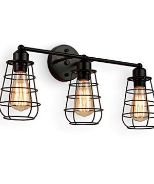 Create For Life 3 Light Industrial Vanity Lights Black Cage Wall Sconces Vintage Rustic Bathroom Wall Lighting 0 300x360