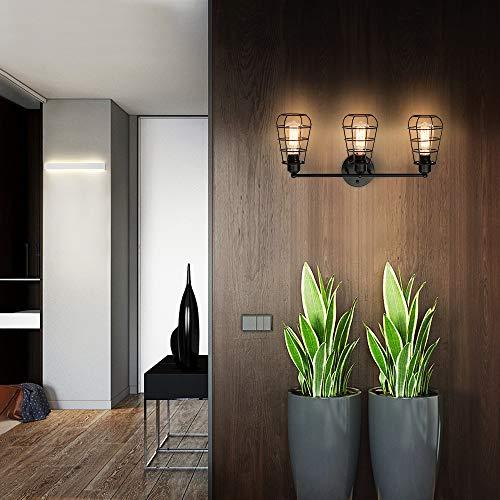 Create For Life 3 Light Industrial Vanity Lights Black Cage Wall Sconces Vintage Rustic Bathroom Wall Lighting 0 5