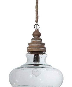 Creative Co Op Glass Mango Wood Ceiling Pendant Light 0 300x360
