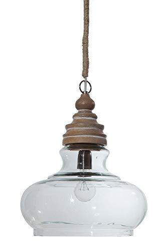 Creative Co Op Glass Mango Wood Ceiling Pendant Light 0