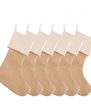 DECORA 215 Inch Natural Jute Burlap Christmas Stocking Fireplace Hanging For Gifts Goodies Handmade Projects Set Of 6 0 300x360