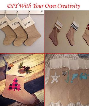 DECORA 215 Inch Natural Jute Burlap Christmas Stocking Fireplace Hanging For Gifts Goodies Handmade Projects Set Of 6 0 5 300x360