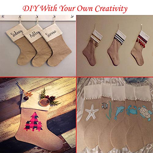 DECORA 215 Inch Natural Jute Burlap Christmas Stocking Fireplace Hanging For Gifts Goodies Handmade Projects Set Of 6 0 5