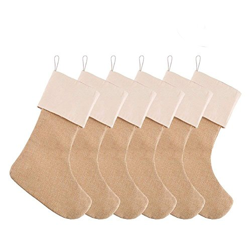 DECORA 215 Inch Natural Jute Burlap Christmas Stocking Fireplace Hanging For Gifts Goodies Handmade Projects Set Of 6 0