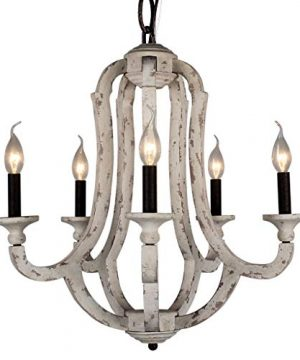 DOCHEER Vintage Wooden Chandelier 5 Candle Holder Lights Distressed White Wood Metal Chandeliers 225 Wide For Dining Room Living Room Bedroom Entryways Foyer 0 300x360