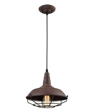 Dazhuan Industrial Nautical Barn Metal Wire Caged Pendant Light Fixture Ceiling Pendant Lamp Iron Cage Shade In Rust Finish 0 1 300x360