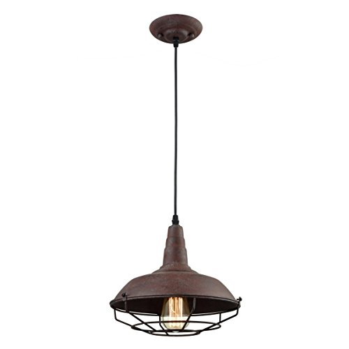 Dazhuan Industrial Nautical Barn Metal Wire Caged Pendant Light Fixture Ceiling Pendant Lamp Iron Cage Shade In Rust Finish 0 1