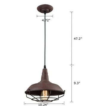 Dazhuan Industrial Nautical Barn Metal Wire Caged Pendant Light Fixture Ceiling Pendant Lamp Iron Cage Shade In Rust Finish 0 3 300x360