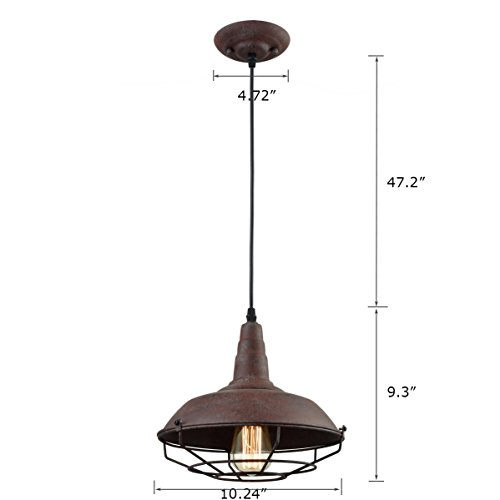 Dazhuan Industrial Nautical Barn Metal Wire Caged Pendant Light Fixture Ceiling Pendant Lamp Iron Cage Shade In Rust Finish 0 3