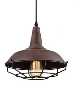 Dazhuan Industrial Nautical Barn Metal Wire Caged Pendant Light Fixture Ceiling Pendant Lamp Iron Cage Shade In Rust Finish 0 300x360
