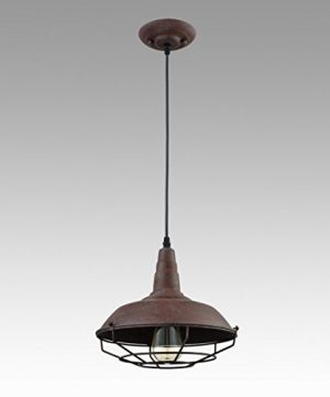Dazhuan Industrial Nautical Barn Metal Wire Caged Pendant Light Fixture Ceiling Pendant Lamp Iron Cage Shade In Rust Finish 0 4 300x360