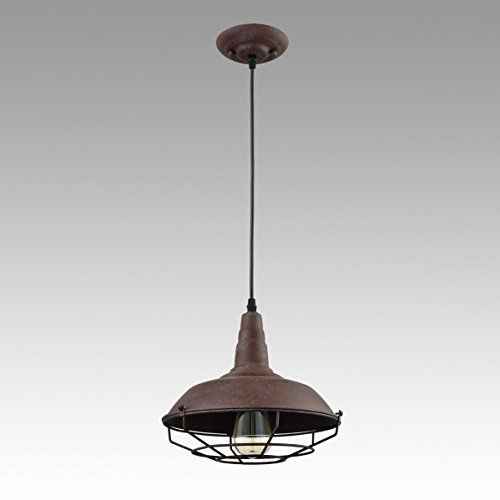 Dazhuan Industrial Nautical Barn Metal Wire Caged Pendant Light Fixture Ceiling Pendant Lamp Iron Cage Shade In Rust Finish 0 4