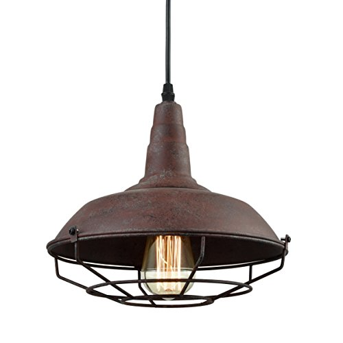 Dazhuan Nautical Barn Metal Wire Caged Pendant Light Fixture Ceiling Lamp Iron Cage Shade In Rust Finish