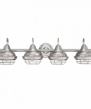Designers Impressions Charleston Satin Nickel 4 Light Wall SconceBathroom Fixture 10015 0 300x360