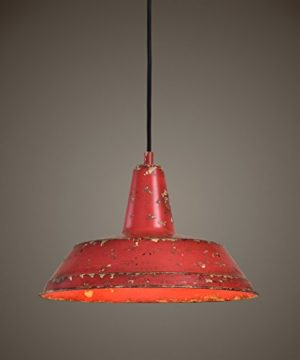 Distressed Industrial Red Round Pendant Light Kitchen Rustic Urban Cottage Hanging Dome Fixture 0 0 300x360
