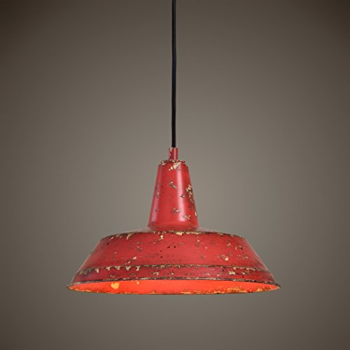 Distressed Industrial Red Round Pendant Light Kitchen Rustic Urban Cottage Hanging Dome Fixture 0 0