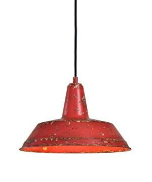 Distressed Industrial Red Round Pendant Light Kitchen Rustic Urban Cottage Hanging Dome Fixture 0 300x360
