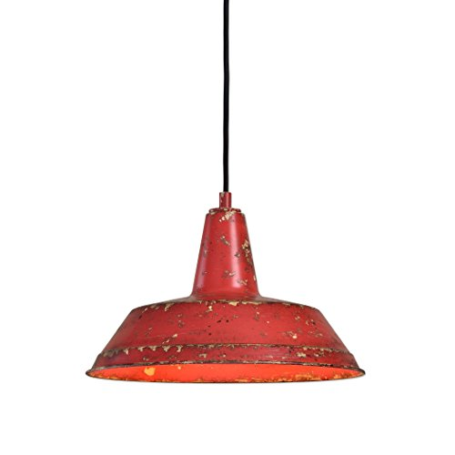 Distressed Industrial Red Round Pendant Light Kitchen Rustic Urban Cottage Hanging Dome Fixture 0