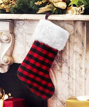 EDLDECCO 205 Inch Christmas Snowy White Faux Fur Red And Black Plaid Stocking For Holiday Party Decorations Gift One Piece 0 0 300x360