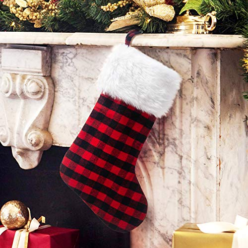 EDLDECCO 205 Inch Christmas Snowy White Faux Fur Red And Black Plaid Stocking For Holiday Party Decorations Gift One Piece 0 0