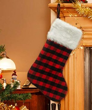 EDLDECCO 205 Inch Christmas Snowy White Faux Fur Red And Black Plaid Stocking For Holiday Party Decorations Gift One Piece 0 1 300x360