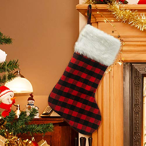 EDLDECCO 205 Inch Christmas Snowy White Faux Fur Red And Black Plaid Stocking For Holiday Party Decorations Gift One Piece 0 1