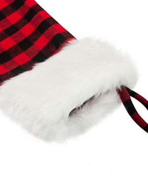 EDLDECCO 205 Inch Christmas Snowy White Faux Fur Red And Black Plaid Stocking For Holiday Party Decorations Gift One Piece 0 2 300x360