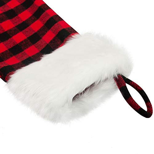 EDLDECCO 205 Inch Christmas Snowy White Faux Fur Red And Black Plaid Stocking For Holiday Party Decorations Gift One Piece 0 2
