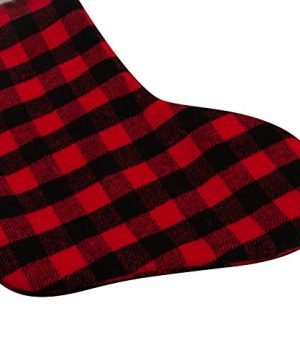 EDLDECCO 205 Inch Christmas Snowy White Faux Fur Red And Black Plaid Stocking For Holiday Party Decorations Gift One Piece 0 3 300x360