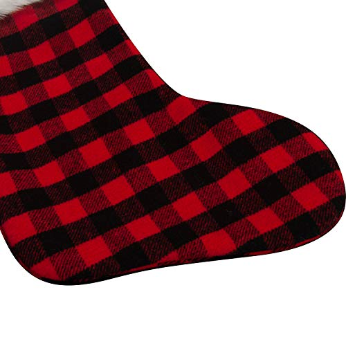 EDLDECCO 205 Inch Christmas Snowy White Faux Fur Red And Black Plaid Stocking For Holiday Party Decorations Gift One Piece 0 3