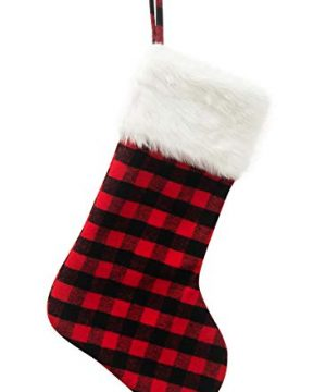 EDLDECCO 205 Inch Christmas Snowy White Faux Fur Red And Black Plaid Stocking For Holiday Party Decorations Gift One Piece 0 300x360