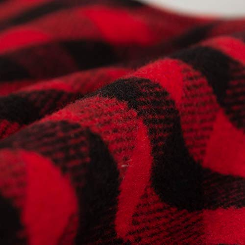EDLDECCO 205 Inch Christmas Snowy White Faux Fur Red And Black Plaid Stocking For Holiday Party Decorations Gift One Piece 0 4