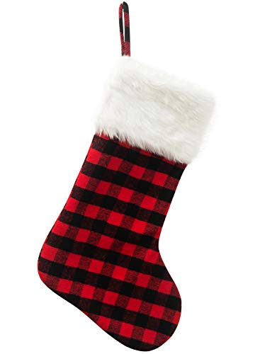 EDLDECCO 205 Inch Christmas Snowy White Faux Fur Red And Black Plaid Stocking For Holiday Party Decorations Gift One Piece 0
