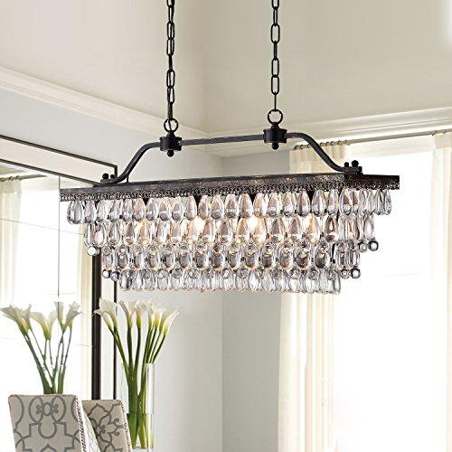 Edvivi 4 Light Antique Bronze Rectangular Linear Crystal Chandelier Dining Room Ceiling Fixture Light Glam Lighting 0 0