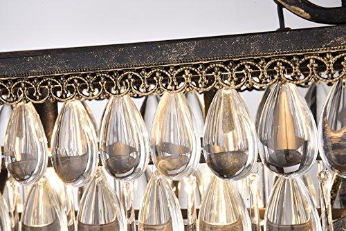 Edvivi 4 Light Antique Bronze Rectangular Linear Crystal Chandelier Dining Room Ceiling Fixture Light Glam Lighting 0 1