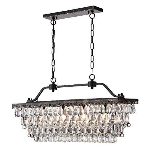 Edvivi 4 Light Antique Bronze Rectangular Linear Crystal Chandelier Dining Room Ceiling Fixture Light Glam Lighting 0 2