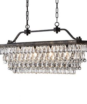 Edvivi 4 Light Antique Bronze Rectangular Linear Crystal Chandelier Dining Room Ceiling Fixture Glam Lighting