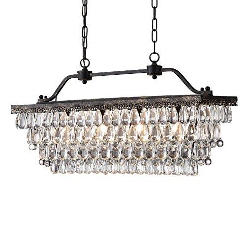 Edvivi 4 Light Antique Bronze Rectangular Linear Crystal Chandelier Dining Room Ceiling Fixture Light Glam Lighting 0