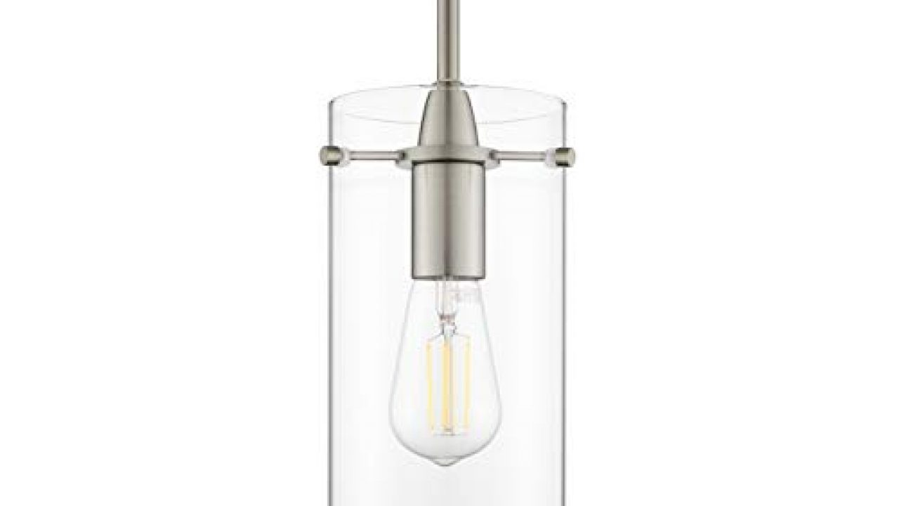 Effimero Large Hanging Pendant Light Brushed Nickel Kitchen Island Light Clear Glass Shade Ll P315 Bn Farmhouse Goals
