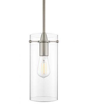 Effimero Large Hanging Pendant Light Brushed Nickel Kitchen Island Light Clear Glass Shade LL P315 BN 0 300x360