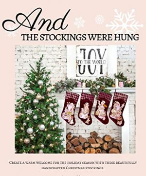 Embroidered Farmhouse Christmas Stockings Set Of 4 In Velvet Burgundy Family And Kids Holiday Stockings With Santa And Snowman Appliqu Designs Christmas Decorations Indoors 18 4 Pcs 0 0 300x360