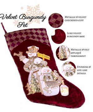 Embroidered Farmhouse Christmas Stockings Set Of 4 In Velvet Burgundy Family And Kids Holiday Stockings With Santa And Snowman Appliqu Designs Christmas Decorations Indoors 18 4 Pcs 0 1 300x360