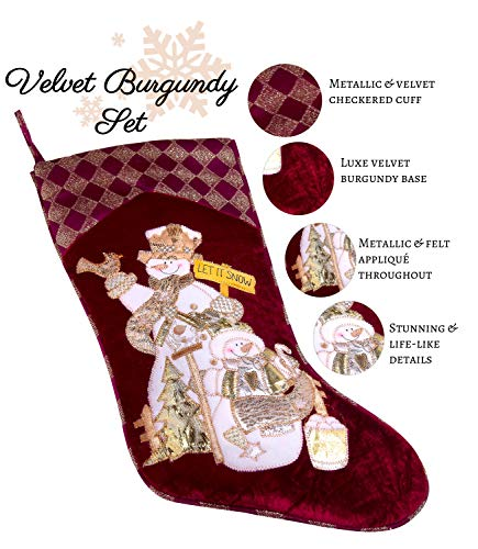 Embroidered Farmhouse Christmas Stockings Set Of 4 In Velvet Burgundy Family And Kids Holiday Stockings With Santa And Snowman Appliqu Designs Christmas Decorations Indoors 18 4 Pcs 0 1
