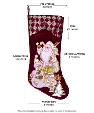 Embroidered Farmhouse Christmas Stockings Set Of 4 In Velvet Burgundy Family And Kids Holiday Stockings With Santa And Snowman Appliqu Designs Christmas Decorations Indoors 18 4 Pcs 0 2 300x360