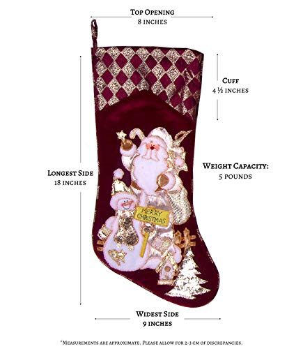 Embroidered Farmhouse Christmas Stockings Set Of 4 In Velvet Burgundy Family And Kids Holiday Stockings With Santa And Snowman Appliqu Designs Christmas Decorations Indoors 18 4 Pcs 0 2