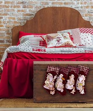Embroidered Farmhouse Christmas Stockings Set Of 4 In Velvet Burgundy Family And Kids Holiday Stockings With Santa And Snowman Appliqu Designs Christmas Decorations Indoors 18 4 Pcs 0 3 300x360