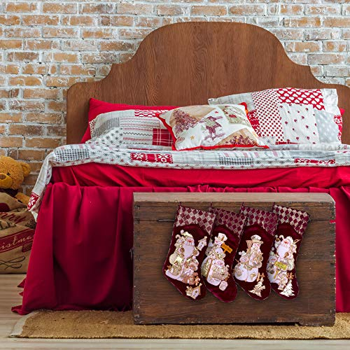 Embroidered Farmhouse Christmas Stockings Set Of 4 In Velvet Burgundy Family And Kids Holiday Stockings With Santa And Snowman Appliqu Designs Christmas Decorations Indoors 18 4 Pcs 0 3