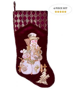 Embroidered Farmhouse Christmas Stockings Set Of 4 In Velvet Burgundy Family And Kids Holiday Stockings With Santa And Snowman Appliqu Designs Christmas Decorations Indoors 18 4 Pcs 0 300x360