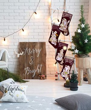 Embroidered Farmhouse Christmas Stockings Set Of 4 In Velvet Burgundy Family And Kids Holiday Stockings With Santa And Snowman Appliqu Designs Christmas Decorations Indoors 18 4 Pcs 0 4 300x360